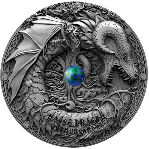 2019 Niue 2 Ounce Norse Dragon Jormungandr High Relief Antique Finish Silver Coin