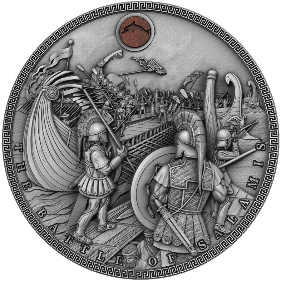 2019 Niue 2 Ounce Sea Battles Battle of Salamis High Relief Silver Coin