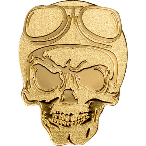 2019 Palau 1/2 Gram Biker Skull .9999 Silk Finish Gold Coin