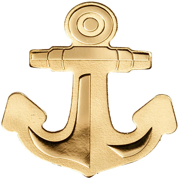 2019 Palau 1/2 Gram Golden Anchor Shaped .9999 Silk Finish Gold Coin