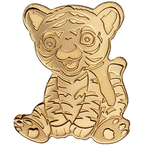 2019 Palau 1/2 Gram Tiny Tiger Shaped .9999 Silk Finish Gold Coin