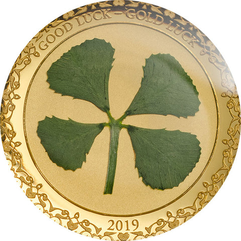 2019 Palau 1 Gram Four Leaf Clover Glass Insert .9999 Gold Proof Coin