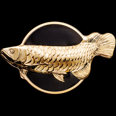 2019 Palau 2 Ounce Arowana (Dragonfish) Gold Gilded Black Enameled Silver Coin