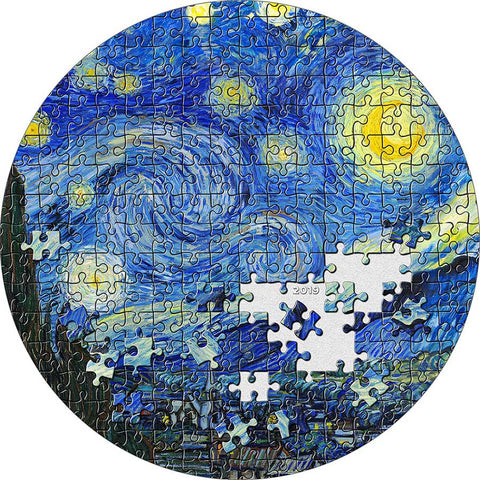 2019 Palau 3 Ounce Van Gogh Starry Night Micropuzzle Treasures Silver Coin