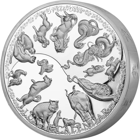 2019 Samoa 888 Gram Lunar Calendar Proof-like .999 Silver Coin