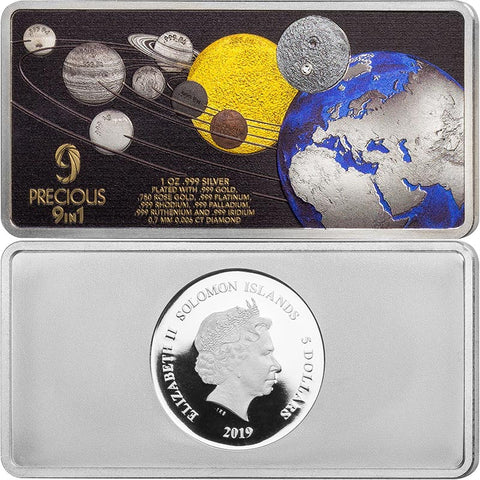 2019 Solomon Islands 1 Ounce Precious 9 in 1 50th Anniversary Moon Landing Silver Coin
