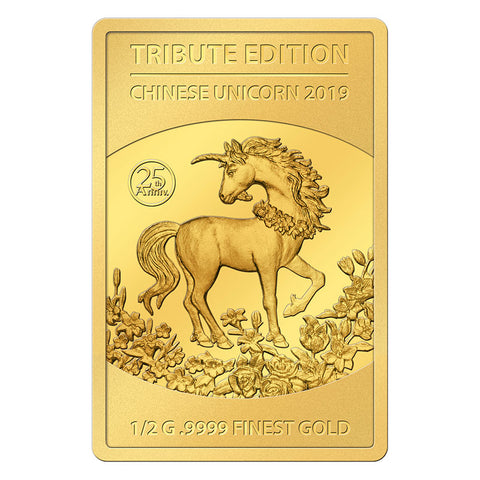 2019 Solomon Islands 6 X 1/2 Gram Tribute Edition Unicorn .9999 Gold Coin Collection