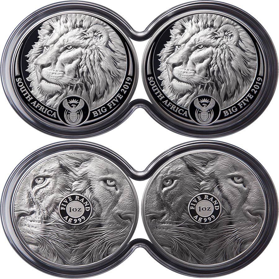 2019 South Africa 2 Coin Lion Double Capsule .999 Silver Proof Set
