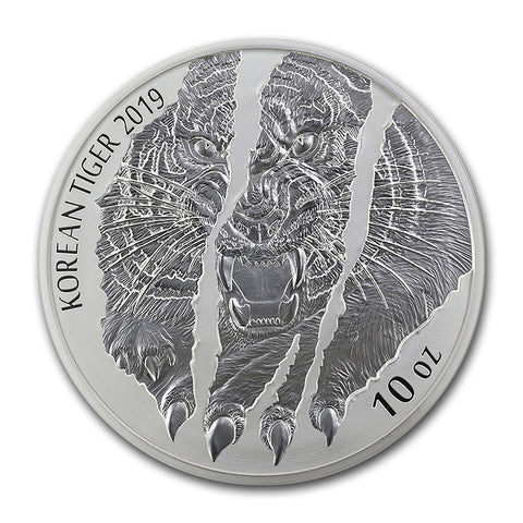 2019 Korea 10 Ounce Korean Tiger Silver Round