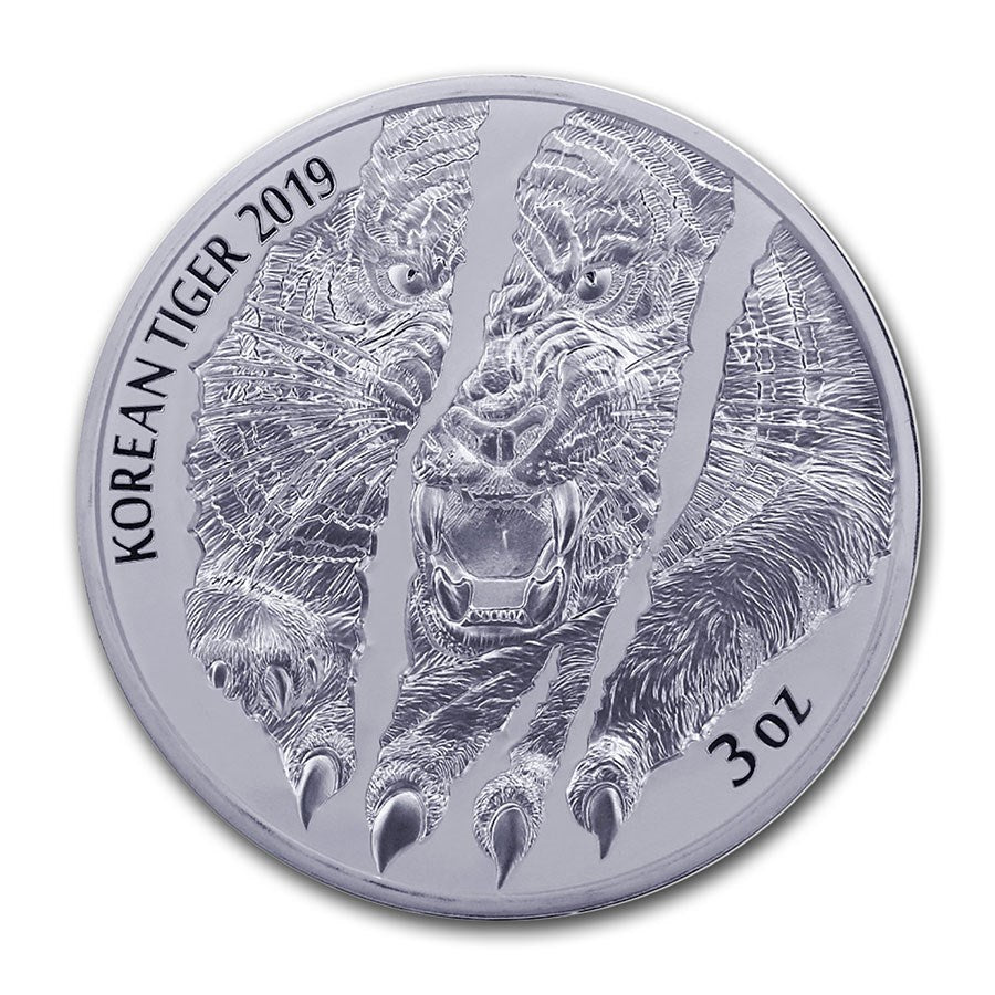2019 Korea 3 Ounce Korean Tiger .999 Silver Round