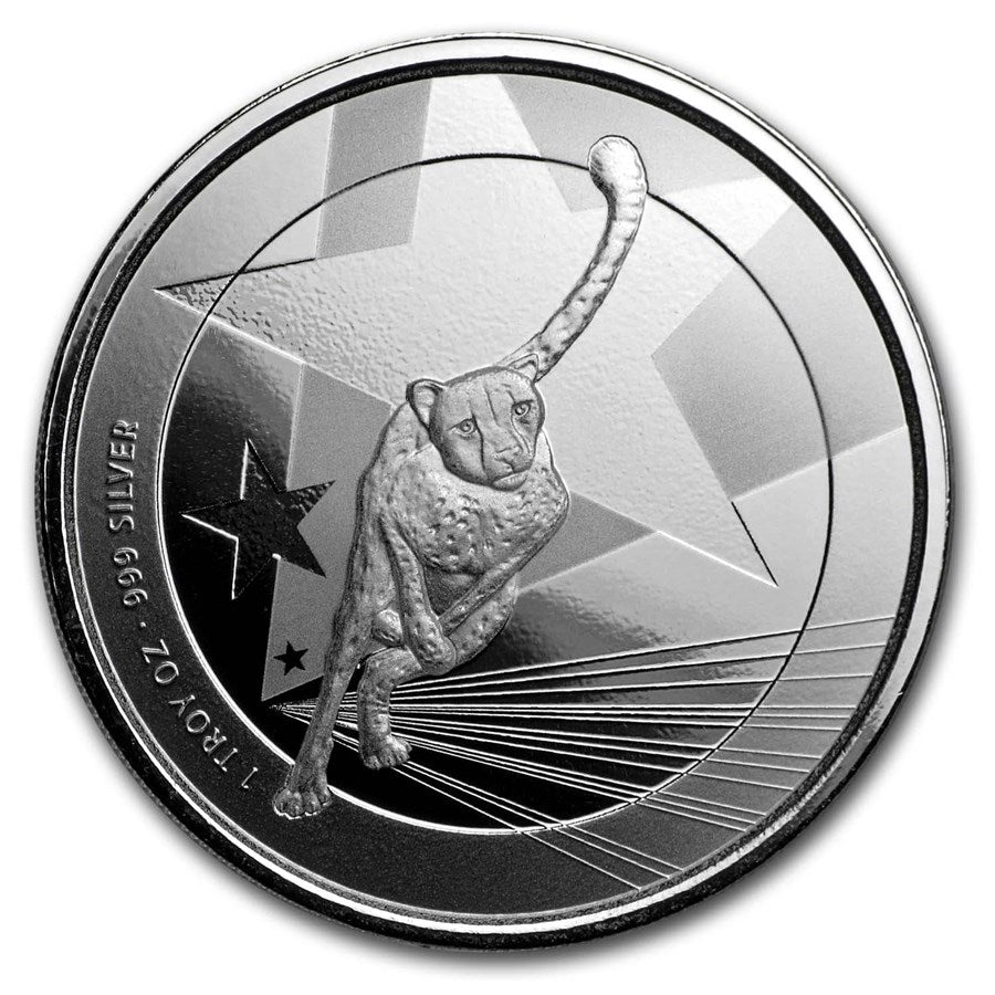 2019 Cameroon 1 Ounce Cheetah Proof-Like .999 Silver Coin
