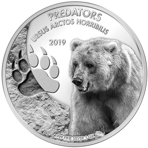 2019 Democratic Congo 1 Ounce Predators Grizzly Bear (Ursus Arctos Horribilis) Silver Coin
