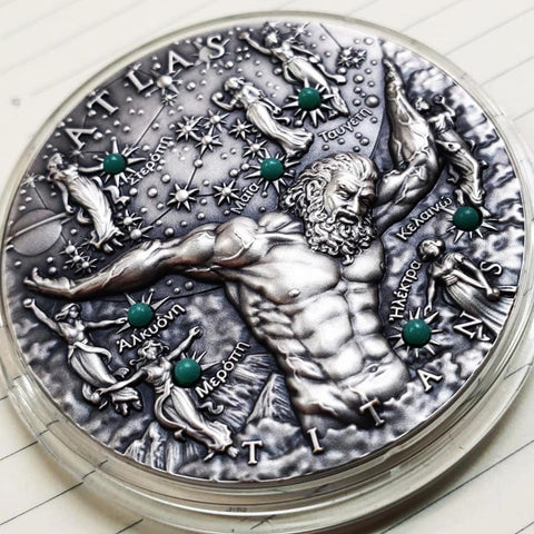 2020 Niue 2 Ounce Atlas High Relief Antique Finish Silver Coin