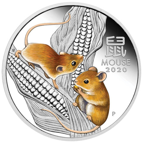 2020 Australia Trio Lunar Year of the Mouse Colored Silver Coin