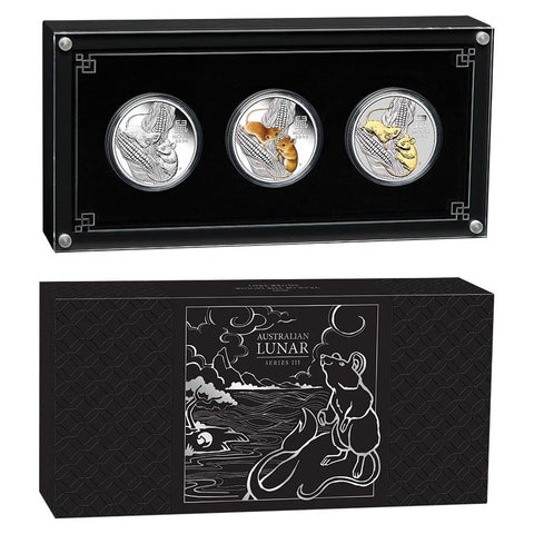 2020 Australia 3 X 1 Ounce Trio Lunar Year of the Mouse .9999 Silver Coin Collection