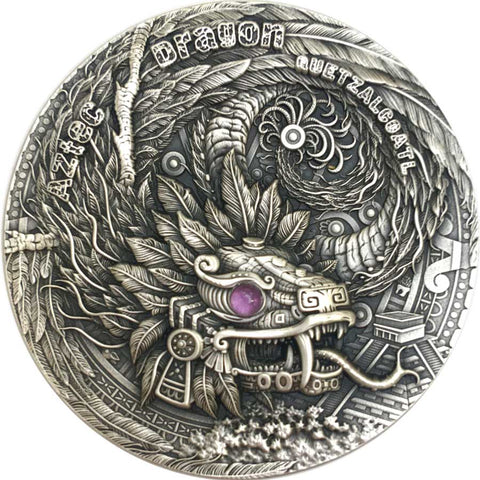 2020 Niue 2 Ounce Aztec Dragon High Relief Antique Finish Silver Coin