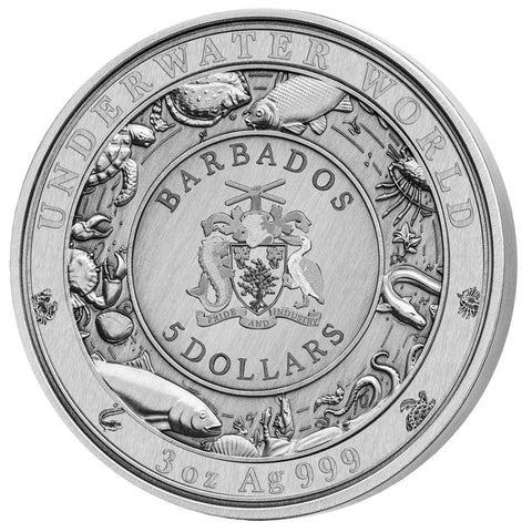 "2020 Barbados 3 Ounce Underwater World ""Blue Whale"" Silver Coin"