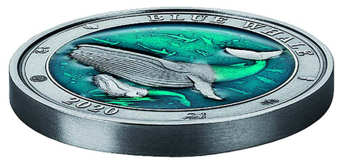 2020 Barbados Underwater World Blue Whale Enamel Silver Coin