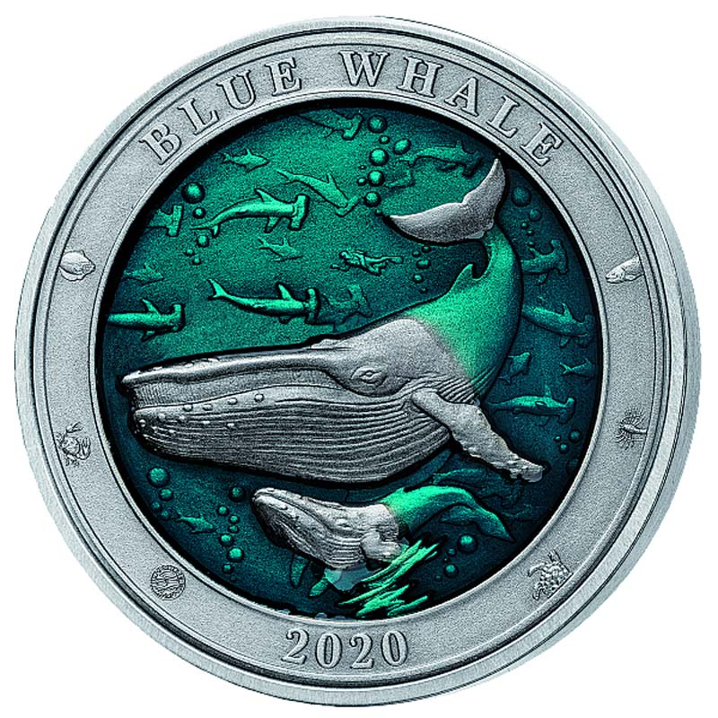 "2020 Barbados 3 Ounce Underwater World ""Blue Whale"" Enamelled Silver Coin"