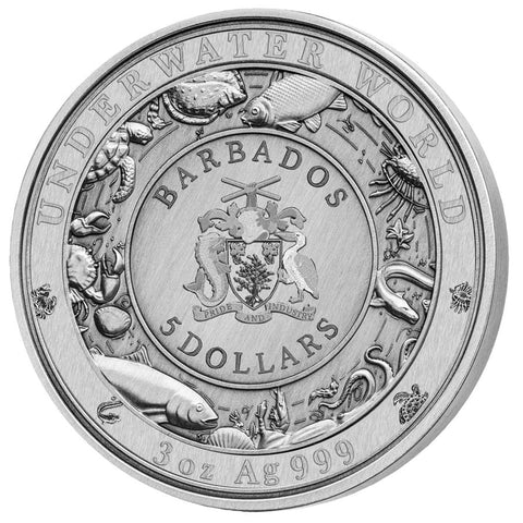 "2020 Barbados 3 Ounce Underwater World ""Spotted Seal"" Enamel Silver Coin"