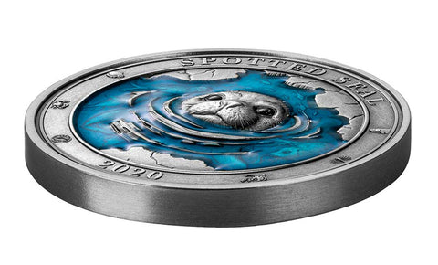 2020 Barbados 3 Ounce Underwater World Spotted Seal Silver Coin