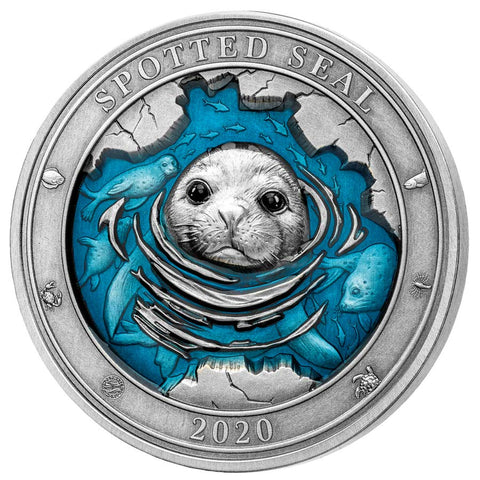 "2020 Barbados 3 Ounce Underwater World ""Spotted Seal"" Enamelled Silver Coin"
