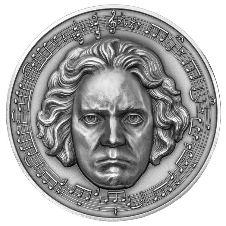 2020 Cameroon 3 Ounce Beethoven 250th Anniversary Ultra High Relief Diamond Inset Antique Finish Silver Coin