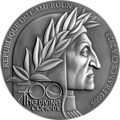2020 Cameroon 5 Ounce Divine Comedy Dante's Inferno High Relief Silver Coin