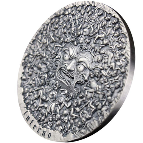 2020 Cameroon 5 Ounce Divine Comedy Dante's Inferno Silver Coin