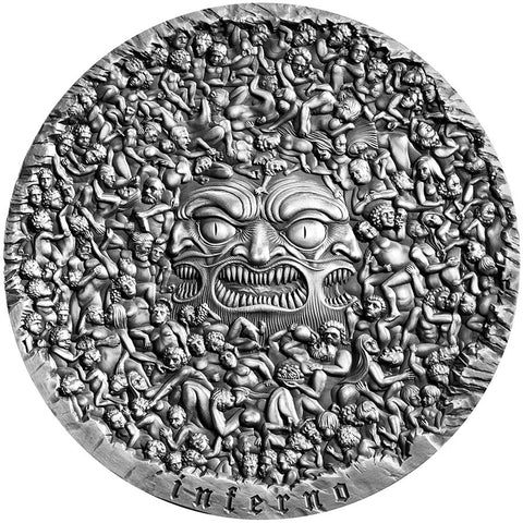 2020 Cameroon 5 Ounce Divine Comedy Dante's Inferno High Relief Antique Finish Silver Coin