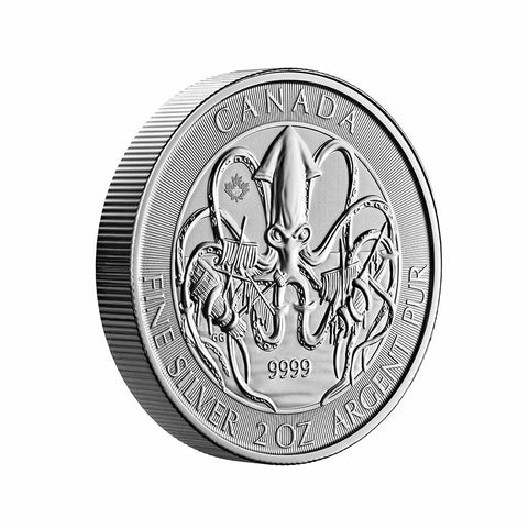 2020 Canada 2 Ounce Kraken Creatures of the North Silver Coin