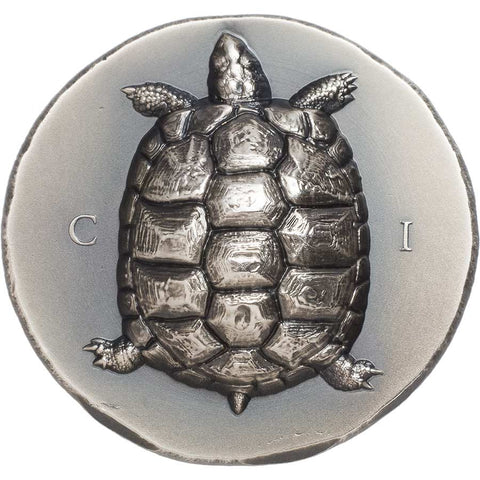 2020 Cook Islands 1 Ounce Tortoise Ultra High Relief Antique Finish Silver Coin