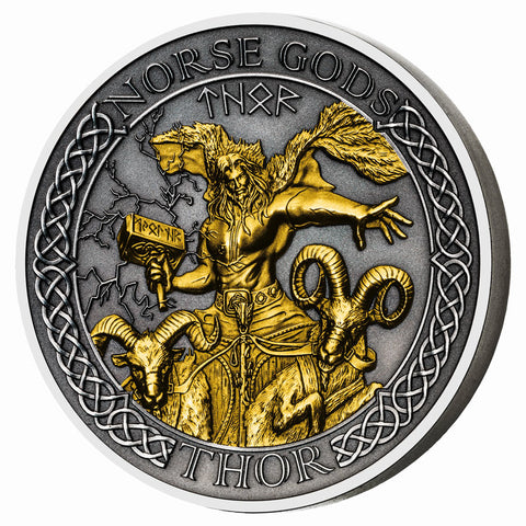 2020 Cook Islands 2 Ounce Norse Gods Thor High Relief Gold Plated Antique Finish Silver Coin