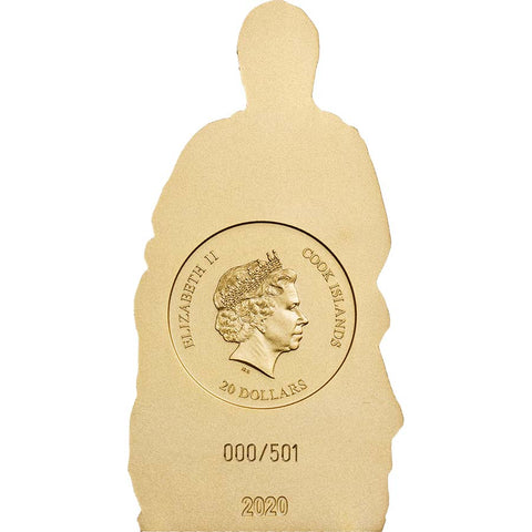 2020 Cook Islands Madonna of Bruges Gold Gilded Silk Finish Silver Coin