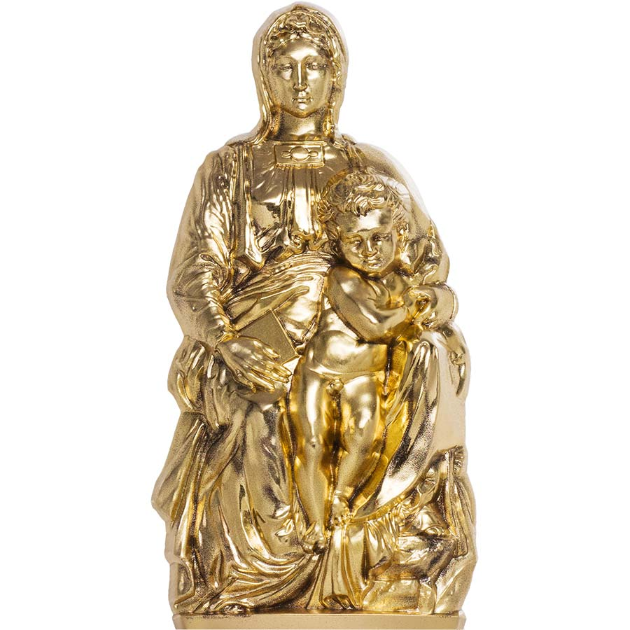 2020 Cook Islands 3 Ounce Madonna of Bruges Gold Gilded Silk Finish Silver Coin