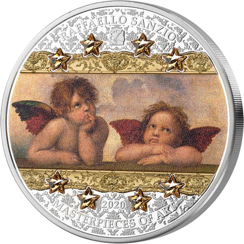 2020 Cook Islands 3 Ounce Raffaello Sanzio - Angels of Sistine Madonna Silver Coin