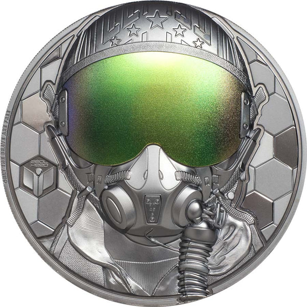 2020 COOK ISLANDS 3 OUNCE REAL HEROES - FIGHTER PILOT ULTRA HIGH RELIEF SILVER PROOF COIN