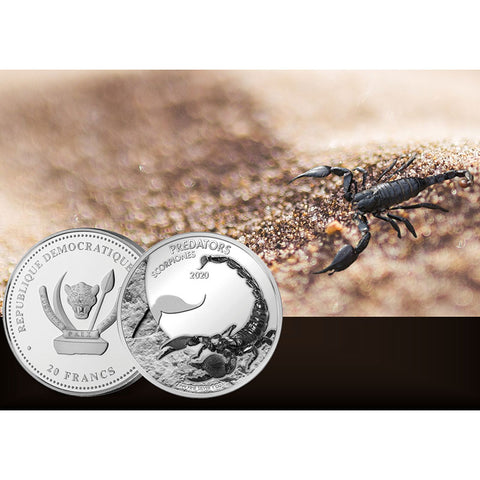 2020 Democratic Congo Scorpion Silver Coin