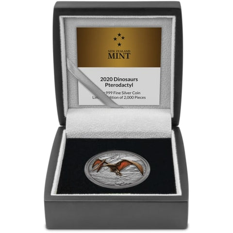 2020 Niue Dinosaurs - Pterodactyl Colored Antique Finish Silver Proof Coin
