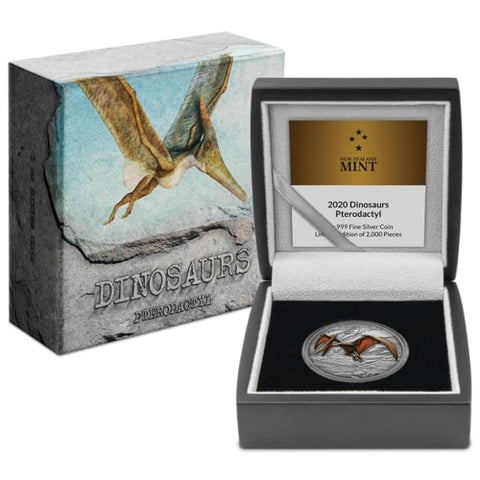 2020 Dinosaurs - Pterodactyl Colored Antique Finish Silver Proof Coin