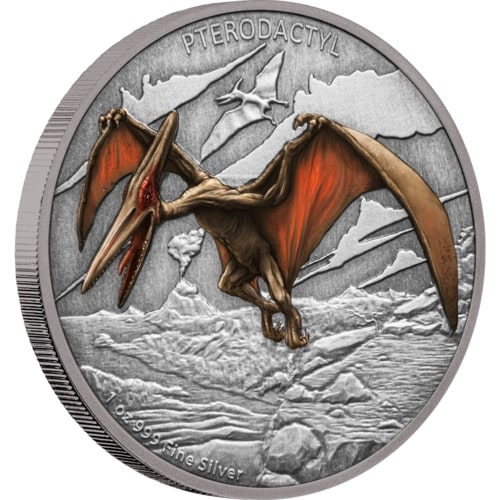 2020 Niue 1 Ounce Dinosaurs - Pterodactyl Colored Antique Finish Silver Proof Coin