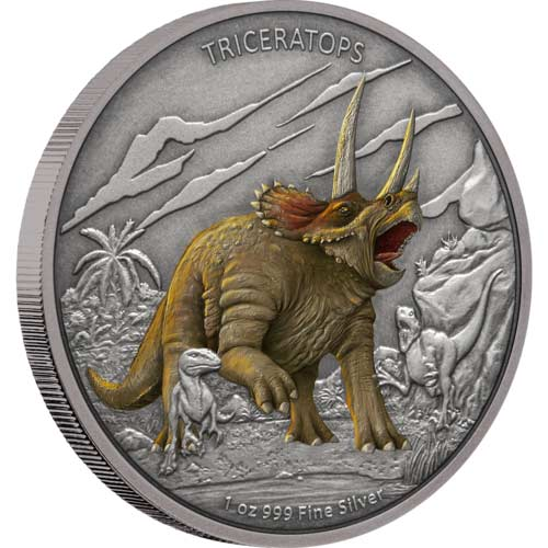 2020 Niue 1 Ounce Dinosaurs - Triceratops Colored Antique Finish Silver Proof Coin