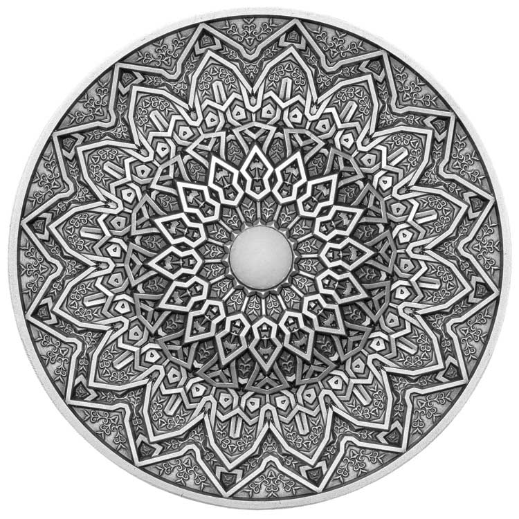 2020 Fiji 3 Ounce Mandala Art Persian Ultra High Relief Antique Finish Silver Proof Coin