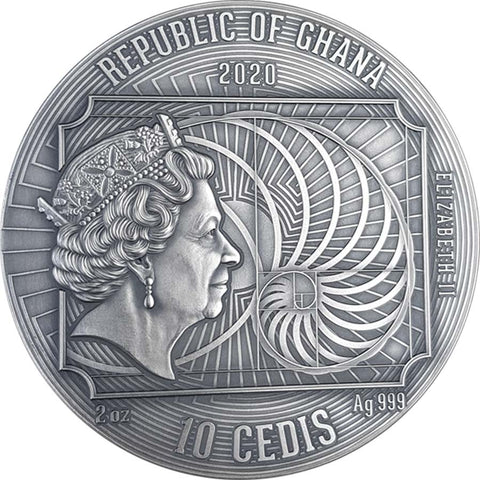 2020 Ghana 2 Ounce Gustav Klimt World's Greatest Artists Silver Coin