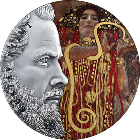 2020 Ghana 2 Ounce Gustav Klimt World's Greatest Artists Colored Silver Coin