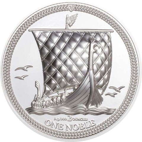 2020 Isle of Man 2 Ounce One Noble Piedfort High Relief Silver Proof Coin