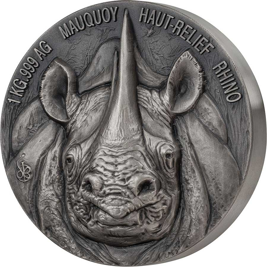 2020 Ivory Coast 1 Kilogram African Big 5 Rhino Mauquoy Mint High Relief Silver Proof Coin