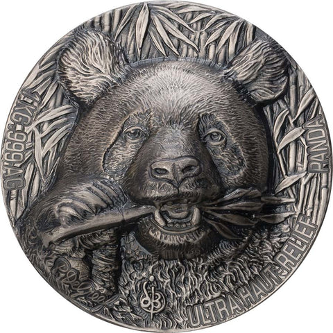 2020 Ivory Coast 1 Kilogram De Greef Panda Haut Relief Silver Coin