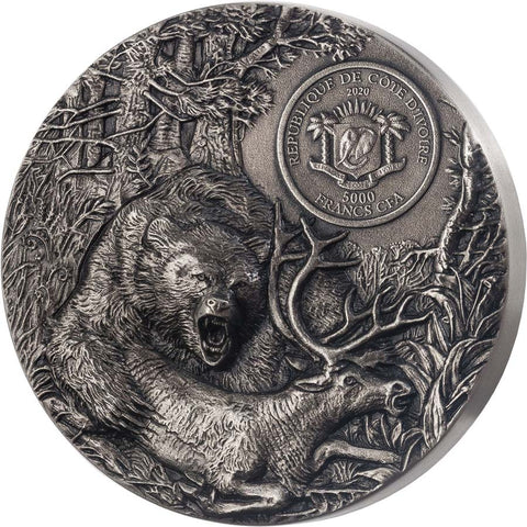 2020 Ivory Coast 3 Ounce Predators Grizzly High Relief Silver Coin