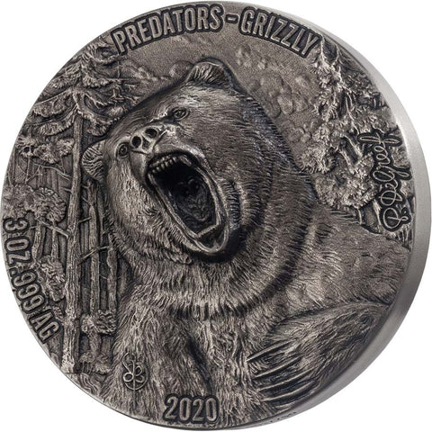 2020 Ivory Coast 3 Ounce Predators Grizzly High Relief Antique Finish Silver Coin